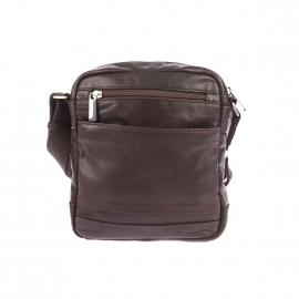 Sacoche Arthur&Aston en cuir huilé chataigne à poches avant zippées