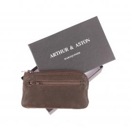 Porte-monnaie Arthur&Aston en cuir huilé marron