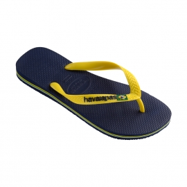 Tongs Havaianas Brasil logo bleu marine à brides jaunes