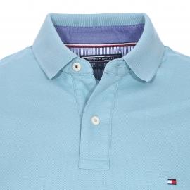 Polo cintré Tommy Hilfiger en piqué de coton premium bleu givré