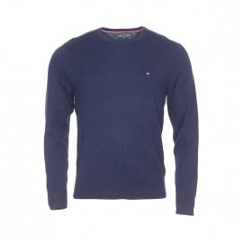Pull col rond Tommy Hilfiger en coton premium bleu marine