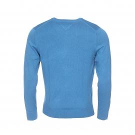 Pull col rond Tommy Hilfiger en coton premium bleu azur