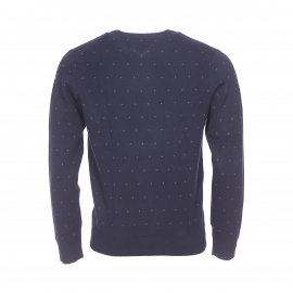 Pull col rond Tommy Hilfiger en coton bleu marine à petits motifs gris