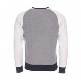 Sweat col rond Tommy Hilfiger moletonné en coton mélangé gris clair et gris anthracite