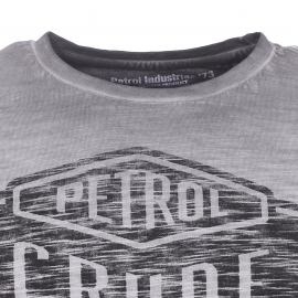 Tee-shirt col rond Petrol Industries en coton flammé gris blanchi floqué en noir