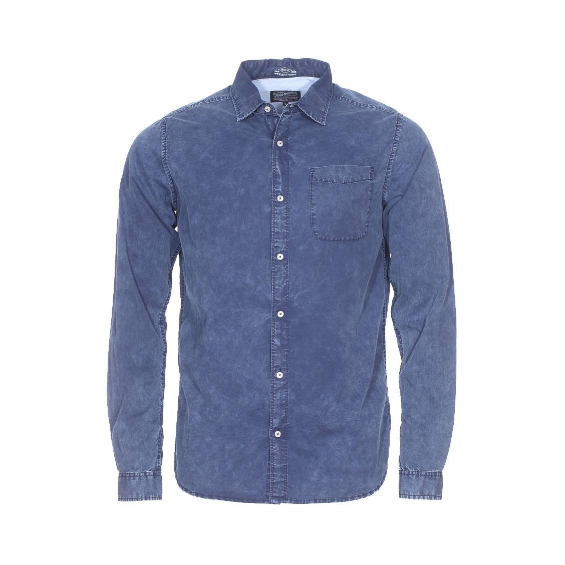 Chemise ajustée  en jean bleu indigo