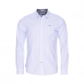 Chemise droite Hilfiger denim blanche à fines rayures bleu clair