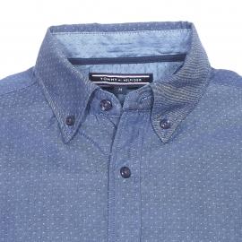 Chemise ajustée Tommy Hilfiger en coton effet denim brodée de petits points