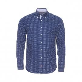 Chemise ajustée Tommy Hilfiger en coton bleu marine à petits triangles blancs