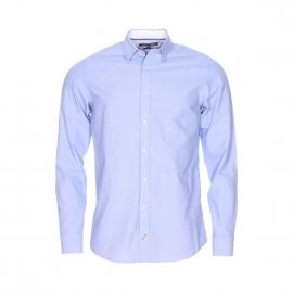Chemise ajustée Tommy Hilfiger en fil à fil bleu clair brodée de petits motifs blancs
