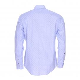 Chemise ajustée Tommy Hilfiger en fil à fil bleu ciel à pois bordeaux et bleu marine