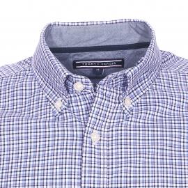 Chemise ajustée Tommy Hilfiger blanche à carreaux bleu marine, violets et bleu clair