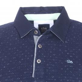 Polo TBS Jakpol en coton bleu marine à motifs mouchetés brodés bleus, gris et noirs