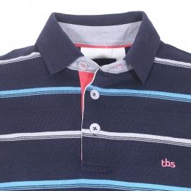 Polo TBS Polmab en coton bleu nuit à rayures grises et bleu clair