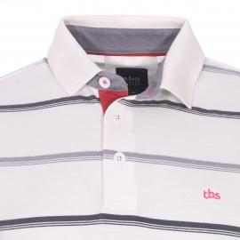 Polo TBS Polmab en coton crème à rayures grises et anthracite