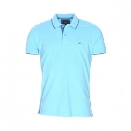 Polo TBS Poltim en maille piquée bleu turquoise à liserés bleu jean