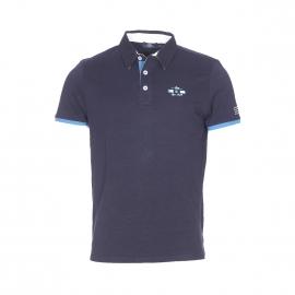 Polo TBS Dicpol en coton flammé bleu marine