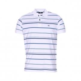 Polo TBS Poltou en jersey de coton blanc à rayures turquoise, bleu de prusse et noires