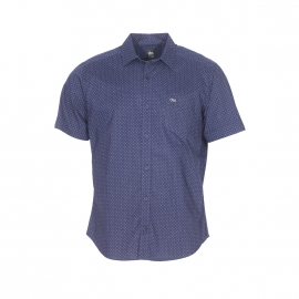 Chemise manches courtes TBS en coton bleu marine à petits points bleu gris et blancs