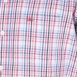 Chemise manches courtes TBS en coton gauffré blanc à carreaux rose goyave, vert d'eau, bleu clair, beiges et bleu foncé