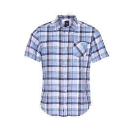 Chemise manches courtes TBS en coton et lin à carreaux blancs, bleu marine et bleu indigo