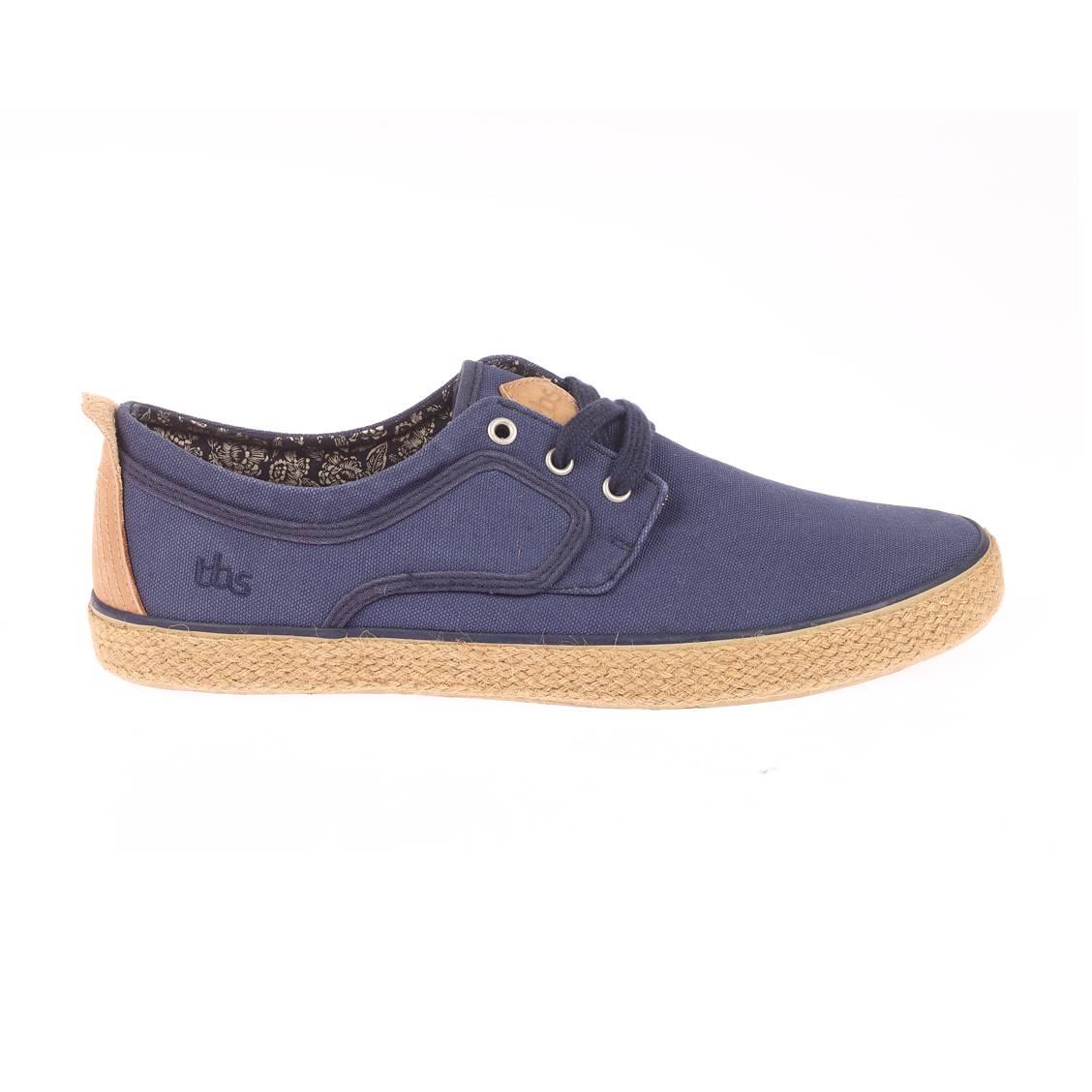Baskets TBS en toile bleu de prusse. Chaussures TBS  - Extérieur en toile bleu de prusse - Doublure intérieure bleu marine à moti