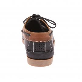 Chaussures bateau TBS en cuir bleu marine à empiècement en cuir marron