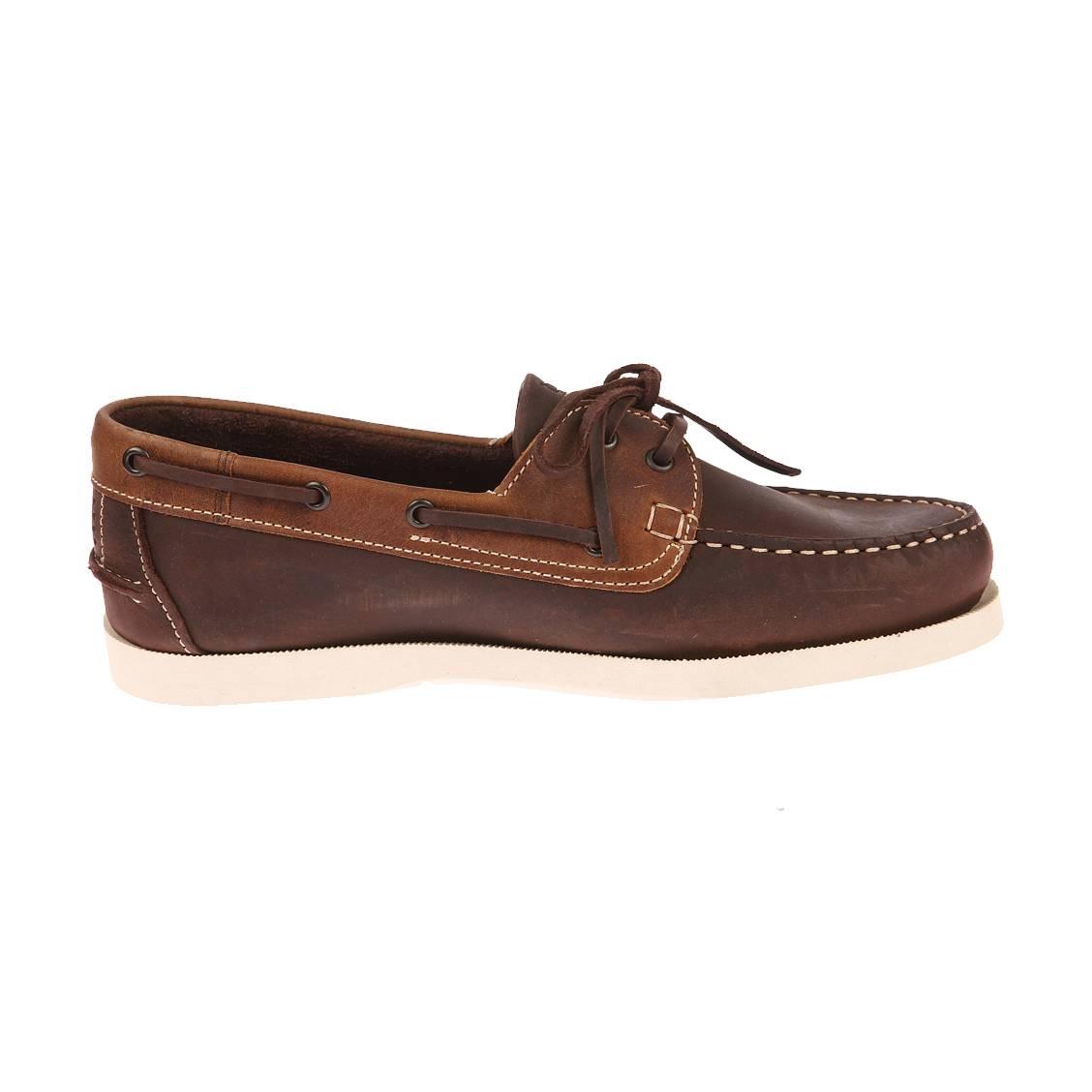 Chaussures bateau TBS en cuir marron à empiècement en cuir marron clair. Chaussures TBS  - Extérieur en cuir marron - Inté
