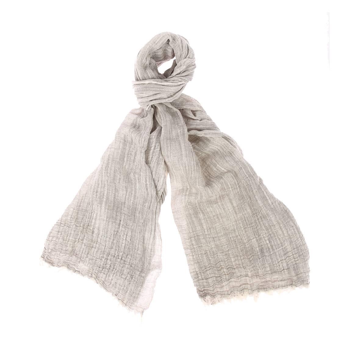 Chèche  ilan en lin et coton gris chiné