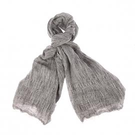 Chèche Harris Wilson Ilan en lin et coton noir chiné