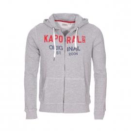 Sweat zippé à capuche Kaporal gris chiné brodé en rouge