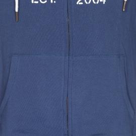 Sweat zippé à capuche Kaporal bleu marine brodé en rouge