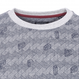 Sweat col rond Kaporal gris chiné à chevrons bleu marine et lettres 3D