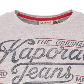 Tee-shirt col rond Kaporal gris chiné à aspect flammé floqué Kaporal Jeans