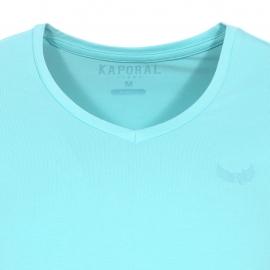 Lot de 2 tee-shirts col V Kaporal bleu turquoise et blanc