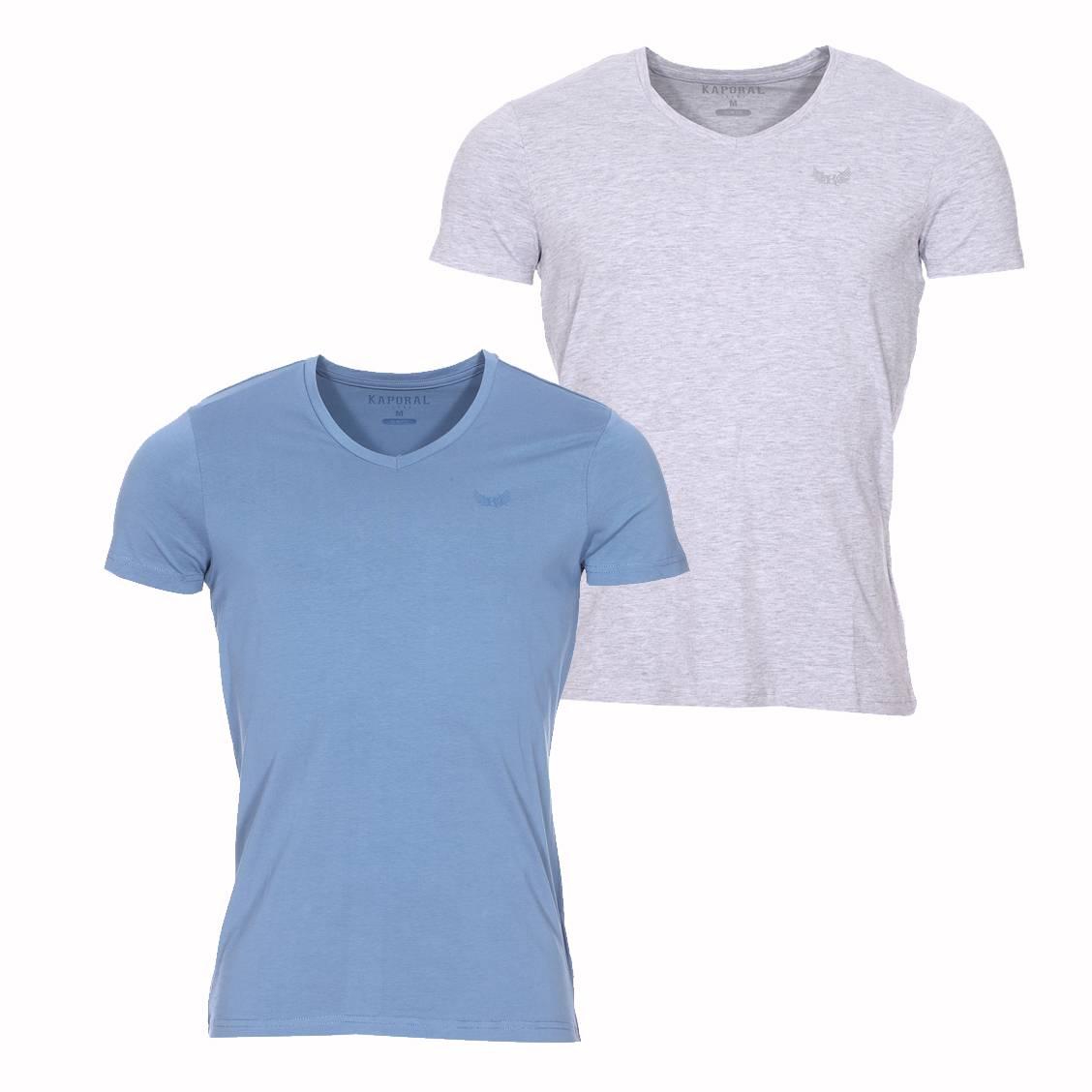 lot de 2 tee shirts col v kaporal bleu jean et gris chin. Black Bedroom Furniture Sets. Home Design Ideas