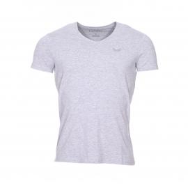 Lot de 2 tee-shirts col V Kaporal bleu jean et gris chiné