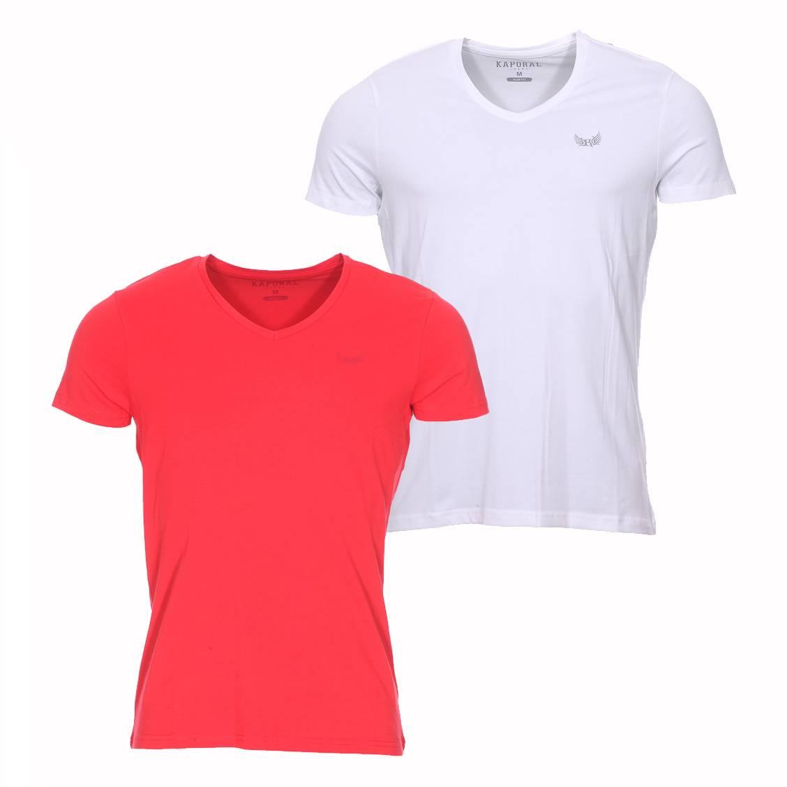 lot de 2 tee shirts col v kaporal rouge et blanc rue des. Black Bedroom Furniture Sets. Home Design Ideas