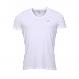 Lot de 2 tee-shirts col V Kaporal gris chiné et blanc