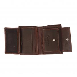 Petit portefeuille européen Pepe Jeans en cuir marron à 3 volets