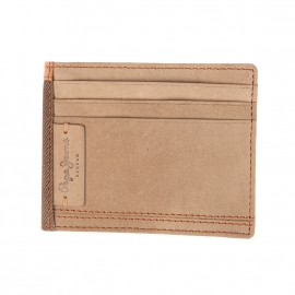 Porte-cartes Pepe Jeans à 2 volets en cuir suèdé beige