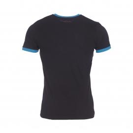 Tee-shirt Ticlass Teddy Smith noir et bleu pétrole