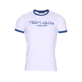 Tee-shirt Ticlass Teddy Smith blanc et bleu foncé
