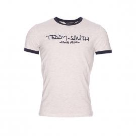 Tee-shirt Ticlass Teddy Smith beige chiné et bleu marine