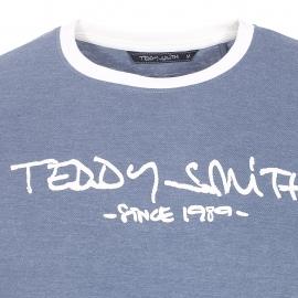 Tee-shirt Ticlass Teddy Smith bleu jean et crème