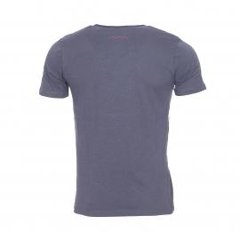 Tee-shirt Tager Teddy Smith bleu encre à col V boutonné