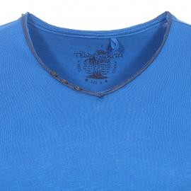 Tee-shirt Tager Teddy Smith bleu indigo à col V boutonné