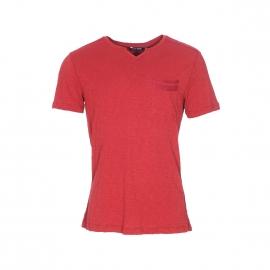 Tee-shirt Antony Morato à petit col V en coton flammé brique à poche poitrine