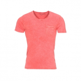 Tee-shirt col V Teddy Smith Tbill en coton flammé orange sanguine à poche