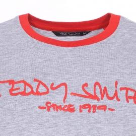 Tee-shirt col rond Teddy Smith Ti class gris chiné et orange sanguine